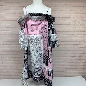 ASOS 8 Bandana Print Off Shoulder Dress
